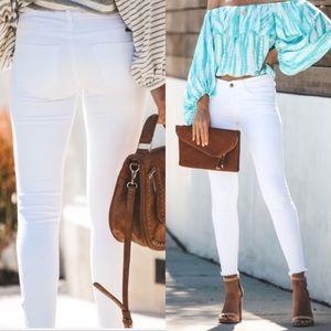 Denim - White skinny mid-rise women's denim jeans